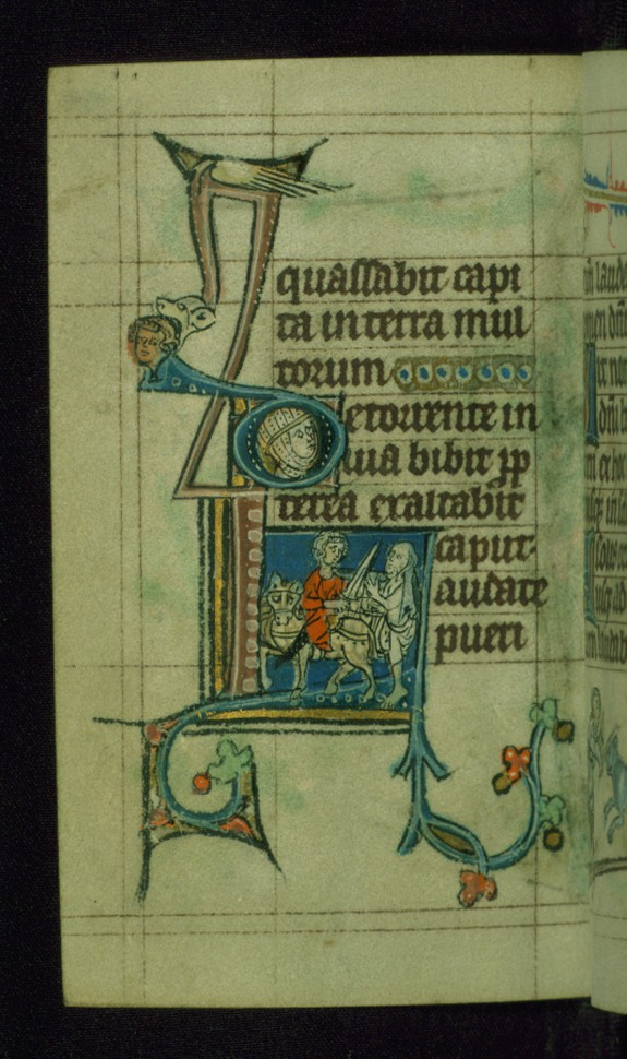 Leaf from Book of Hours: Vespers from Hours of the Virgin, Initial L with Saint Martin Dividing his Cloak