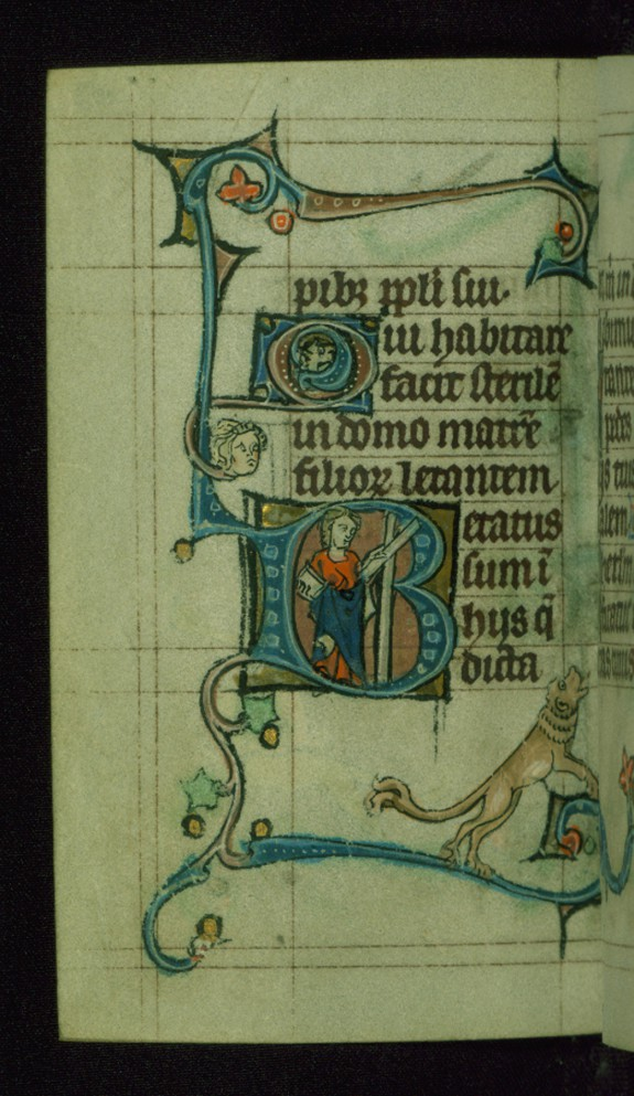 Leaf from Book of Hours: Vespers from Hours of the Virgin, Initial B with an Apostle (?) Carrying a White Book and Cross