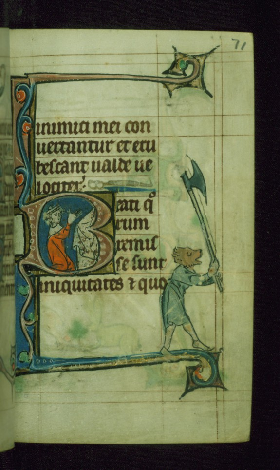 Leaf from Book of Hours: Seven Penitential Psalms; Initial B with King David Kneeling in Prayer at an Altar