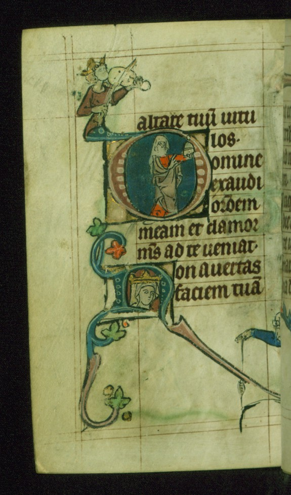 Leaf from Book of Hours: Seven Penitential Psalms, Initial D with Mary Magdalene Holding an Ointment Jar