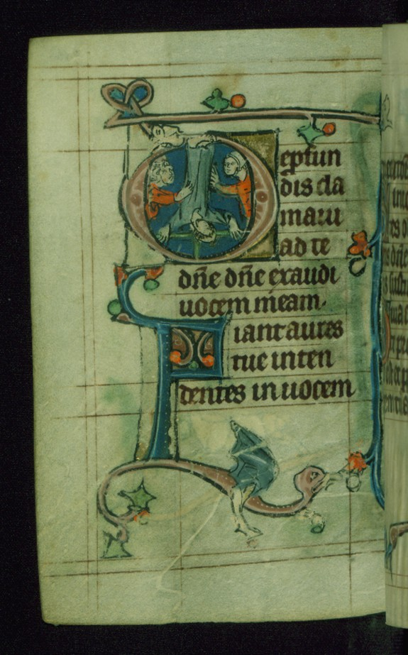 Leaf from Book of Hours: Seven Penitential Psalms, Initial D with the Martyrdom of the Apostle Peter