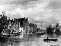 Canal Scene in Flemish Town