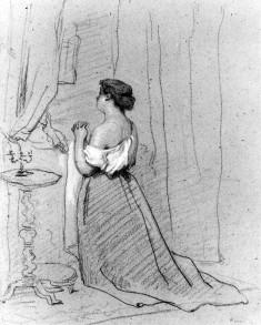 Woman Kneeling in Prayer Beside Bed