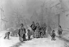People Leaving Church in Winter