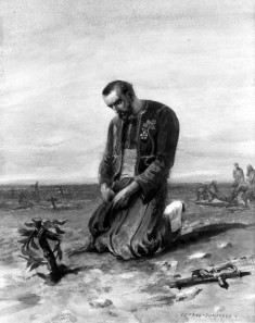Zouave Kneeling on Battlefield
