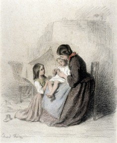 Interior with Woman Teaching Child to Pray