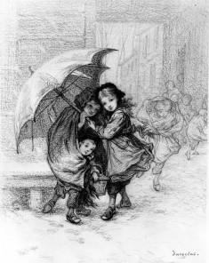 School Children in a Storm