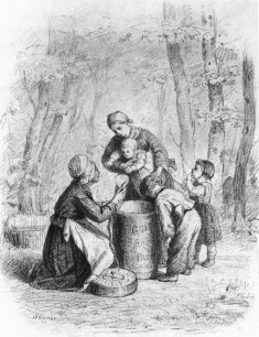 Mother and Children Shelling Peas