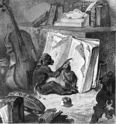 Two Monkeys with Books, Viola, and Tambourine