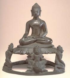 "Seated Buddha in ""Maravijaya,"" on Base Featuring Mara's Warriors"