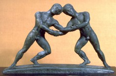 Cista Handle in the Form of Two Wrestlers
