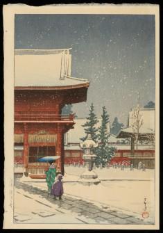Snow at Nezu Gongen Shrine, 1933
