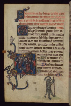 Leaf from Book of Hours: Betrayal; Elephant as a Pilgrim from a Marginal Cycle of Images of the Funeral of Renard the Fox