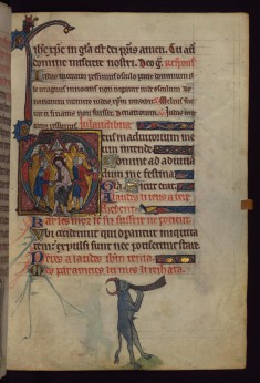 Leaf from Book of Hours: Flagellation; Bull Blowing a Horn from a Marginal Cycle of Images of the Funeral of Renard the Fox