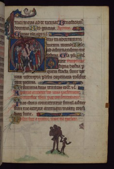 Christ Carrying the Cross; ape family, from a marginal cycle of images of the funeral of Renard the Fox