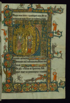 Leaf from Book of Hours: Initial D with Annunciation