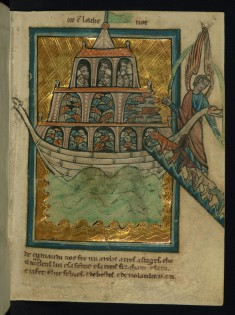 Leaf from Bible Pictures by William de Brailes: The Animals Enter Noah's Ark