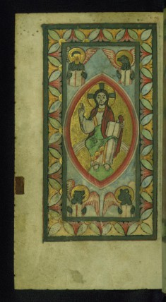 Christ in Majesty with Four Evangelist Symbols Holding Open Books