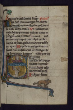 Initial S with David Bathing in the Sea and God Blessing; Lion in Margins