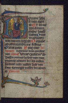 Initial D with Woman Holding an Ointment Jar; Hybrid Creature in Margins