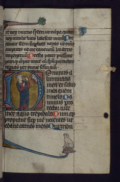 Initial D with David Pointing to His Eye Before the Face of God; Dog in Margins