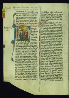 Initial N with Coronation of Baldwin III by Two Laymen