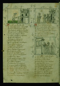 Porter Strikes Pilgrim with Club on Back, Pilgrim Enters Church; Pilgrim Sees Charity and Voluntary Poverty Approaching Church; Obedience and Discipline Enter Church, Pilgrim at Right
