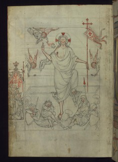 Leaf from a Homilary: the Resurrection with Augustinian Nuns in Margin
