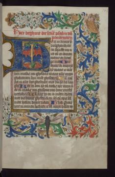 "Foliate Initial ""H"" (Here in Dynre) with Beast-legged Bishop in Margin"