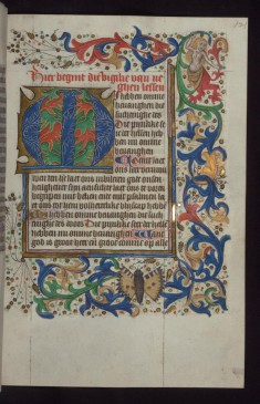 "Foliate Initial ""M"" (Mi hebben) with Beast-legged Nude Woman in Margin"