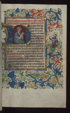 "Initial ""H"" (Here du selte) with Virgin and Child, and Prophet with Scroll in Margin"