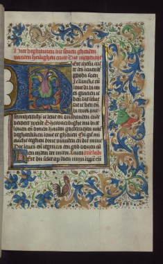 "Foliate Initial ""H"" (Here Ihesu Criste) with Grotesques in Margin"