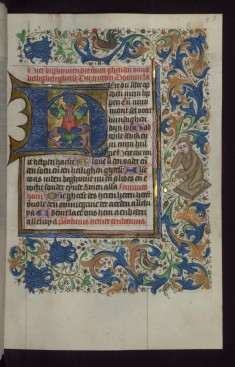 "Foliate Initial ""H"" (Here du Selte) with Human-faced Animal in Margin"