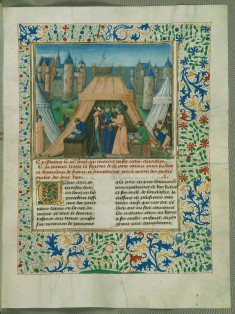 """Leaf from Chronicles of England, Volume IV: French and English representatives meet at Leulighem, the """"Peace of Duke Philip"""""""