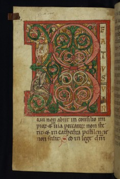 Leaf from Psalter: Initial B (Beatus vir)