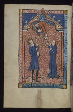 Leaf from the Carrow Psalter: Angel Hands Spade to Adam and Spindle to Eve