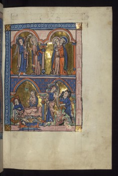 Above: Annunciation/Visitation; Below: Nativity/Annunciation to the shepherds