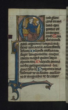 Initial Q with a seated king holding a sword and orb