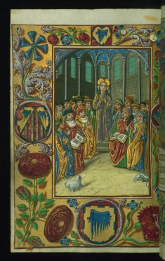 Leaf from the Almugavar Hours: Christ amoung the Doctors and a Decorative Border with Flowers and a Coat of Arms