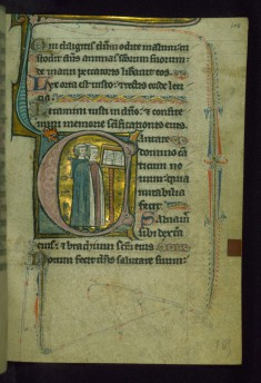 "Leaf from Psalter of Jernoul de Camphaing: Initial C with Three Clerics ""Singing"" before Open Book on Lectern"