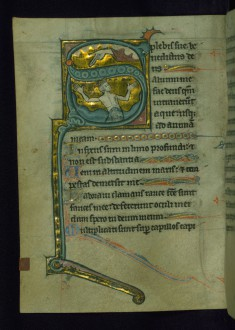 Leaf from Psalter of Jernoul de Camphaing: Initial S with David in Water below the Hand of God