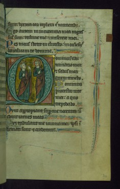 Leaf from Psalter of Jernoul de Camphaing: Initial D with King David Pointing to Eyes before Christ