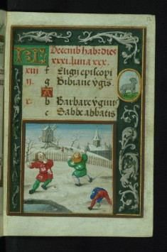 Leaf from Book of Hours: Snowball Fight