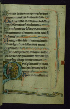 Leaf from Psalter of Jernoul de Camphaing: Initial Q with Christ Driving Away Devil