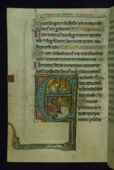 Leaf from Psalter of Jernoul de Camphaing: Initial E with King David Playing Bells