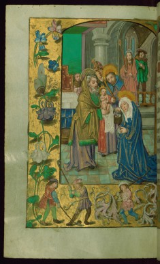 Leaf from Book of Hours: Hours of the Virgin, Presentation in the Temple