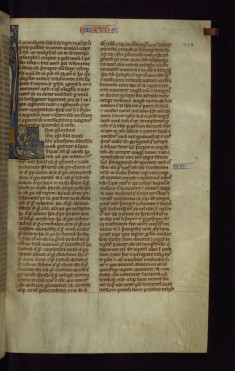 "Historiated Initial ""L"" with Matthew Writing"