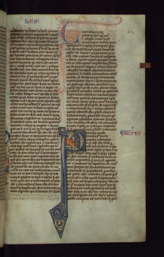 "Historiated Initial ""P"" with St. Luke Writing and Marginal Figure of St. John"