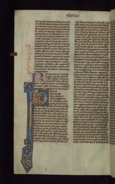 "Historiated Initial ""P"" with St. Paul Writing"