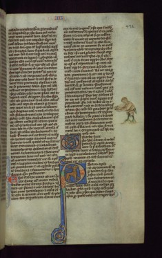 "Initial ""P"" with Lion and Figure in Margin"